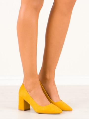Pantofi cu toc cod CC208 Yellow