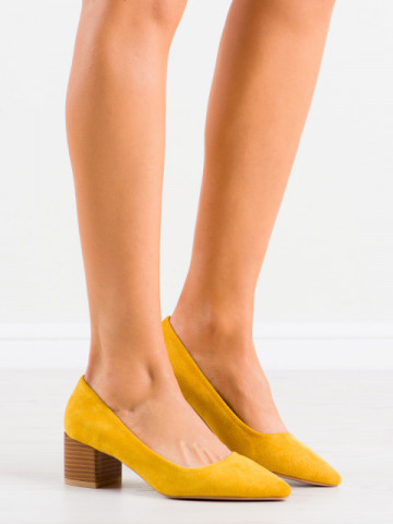 Pantofi cu toc cod CL75 Yellow