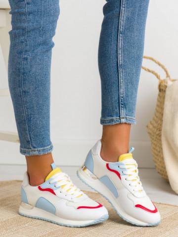 Pantofi sport cod C915 White/Blue/Yellow