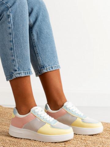 Pantofi sport cod J1853 White/Yellow