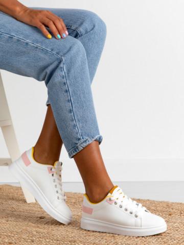Pantofi sport cod YZ702 White/Yellow
