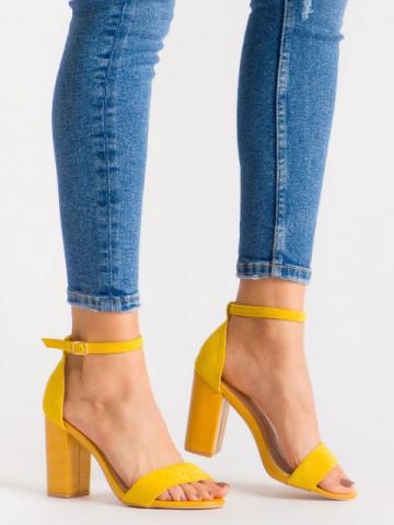 Sandale cu toc cod 223 Yellow