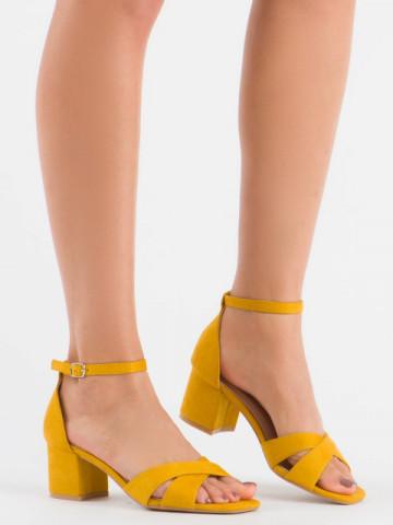 Sandale cu toc cod 3022 Yellow
