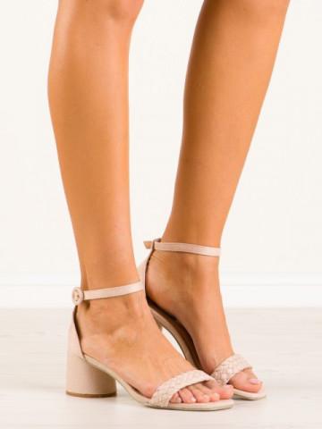Sandale cu toc cod 9247-14 Beige