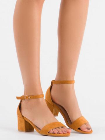 Sandale cu toc cod 99-36A Camel