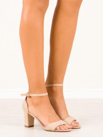 Sandale cu toc cod A5348-A Beige