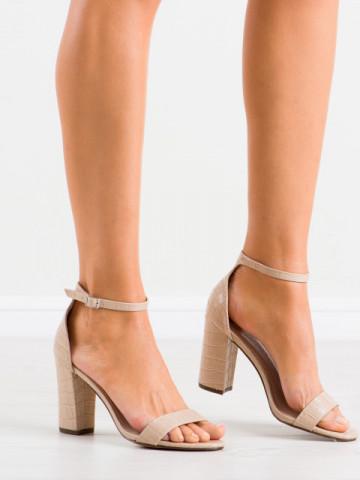 Sandale cu toc cod CD58 Beige