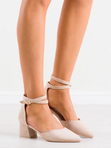 Sandale cu toc cod LE077 Beige