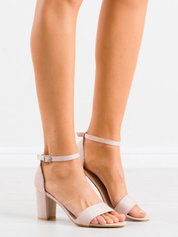 Sandale cu toc cod LL210 Beige