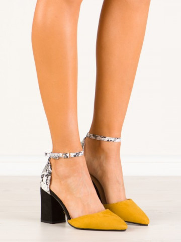 Sandale cu toc cod NC903 Yellow
