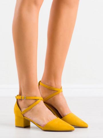 Sandale cu toc cod NF57 Yellow