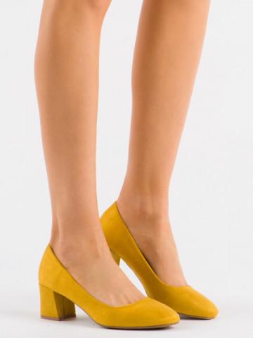 Pantofi cu toc cod 3132 Yellow