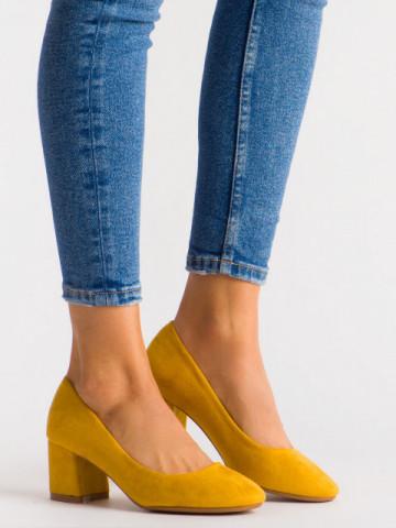Pantofi cu toc cod FM1089 Yellow