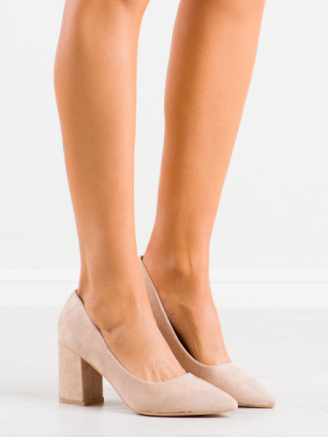 Pantofi cu toc cod GG74 Beige