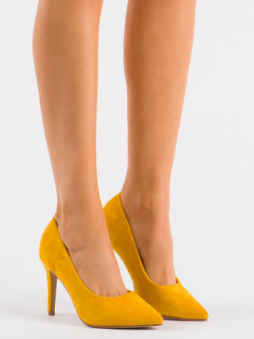 Pantofi cu toc cod XKK250 Yellow