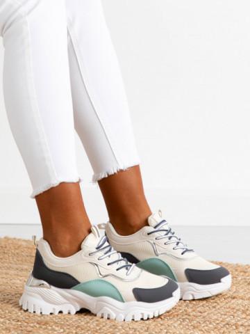 Pantofi sport cod AB855 Beige/Black/Green