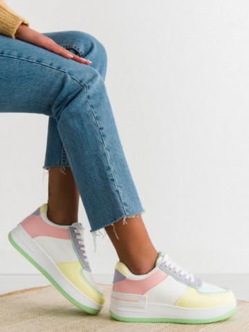 Pantofi sport cod J1850 Pink/Yellow