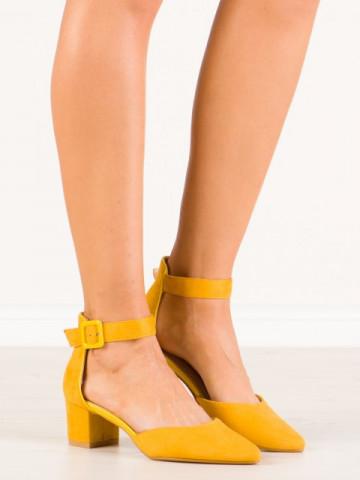 Sandale cu toc cod 1851 Yellow
