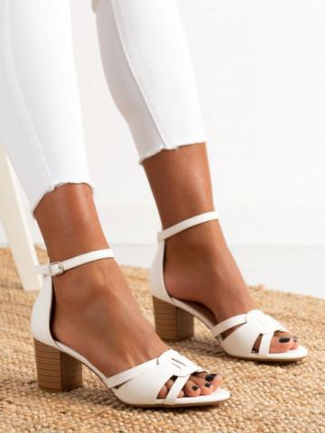 Sandale cu toc cod 372-5 White