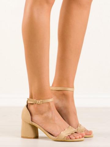 Sandale cu toc cod 6268-14 Beige