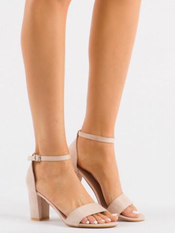 Sandale cu toc cod 88-396 Nude