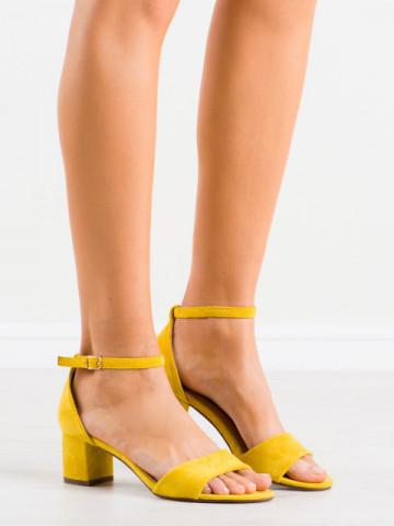 Sandale cu toc cod F188 Yellow