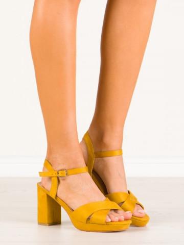 Sandale cu toc cod HJ104 Yellow