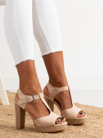 Sandale cu toc cod J165 Beige