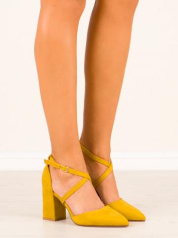 Sandale cu toc cod NC900 Yellow