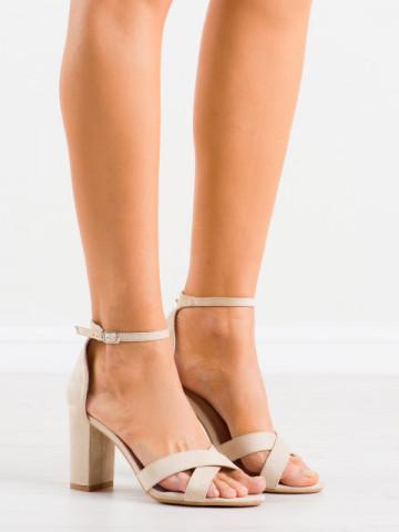 Sandale cu toc cod NF63 Beige