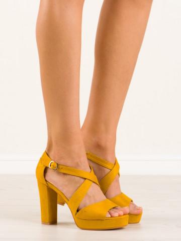 Sandale cu toc cod VV-23 Yellow