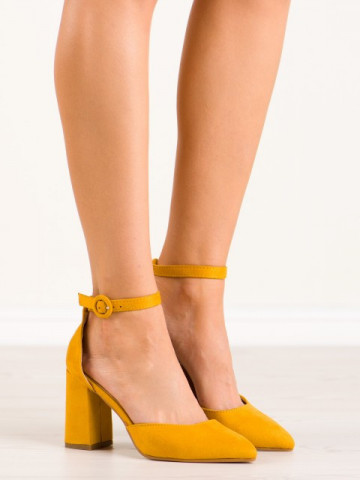 Sandale cu toc cod K609 Yellow