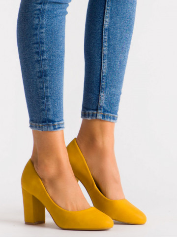 Pantofi cu toc cod 3005 Yellow