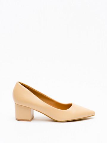 Pantofi cu toc cod A-3371 Beige