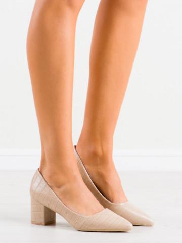 Pantofi cu toc cod GG93 Beige