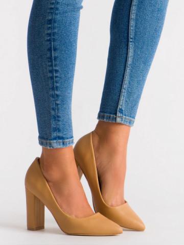 Pantofi cu toc cod OD0115 Beige