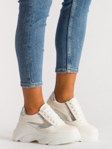 Pantofi sport cod A1055 White/Silver