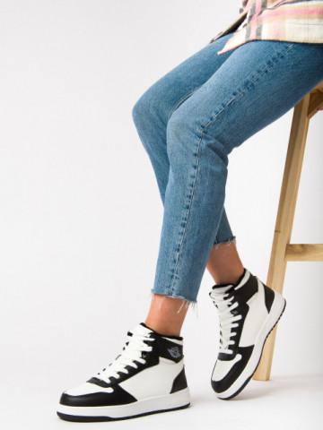 Pantofi sport imblaniti cod AJ30 White/Black