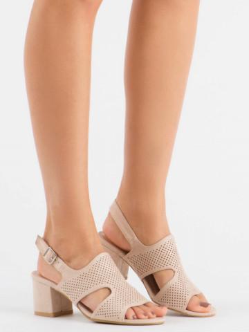 Sandale cu toc cod 1-122 Beige