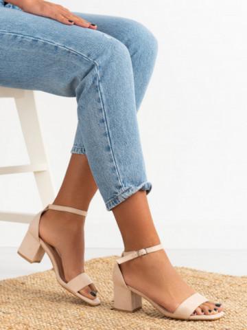 Sandale cu toc cod 1-133 Beige