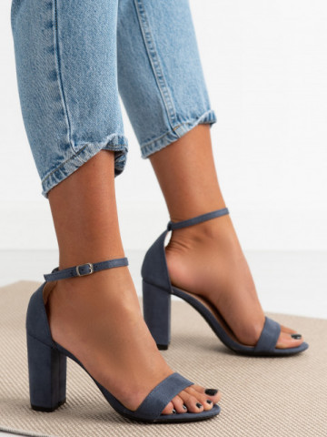 Sandale cu toc cod 5851 Blue