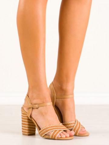 Sandale cu toc cod 9262-14 Beige