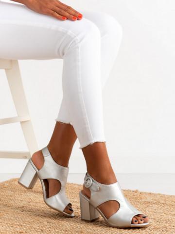 Sandale cu toc cod A8561 Silver