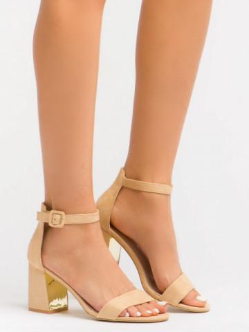 Sandale cu toc cod EK0056 Beige