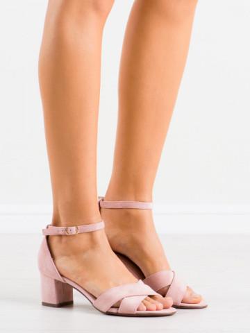Sandale cu toc cod F189 Pink