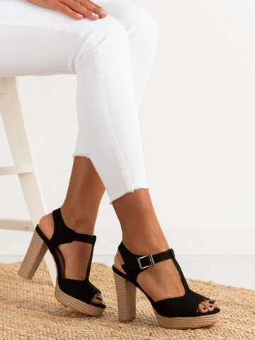 Sandale cu toc cod J165 Black
