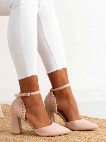 Sandale cu toc cod KK37 Beige