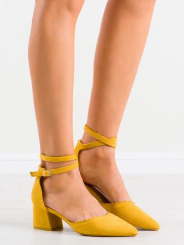 Sandale cu toc cod LE077 Yellow