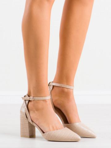 Sandale cu toc cod LE079 Beige