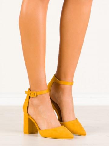Sandale cu toc cod LL186 Yellow